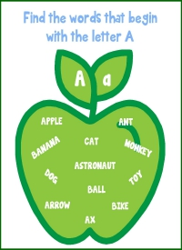 Letter A Words Printable