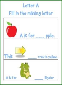 Letter A Mising Letter Printable