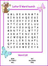 Letter B Word Search
