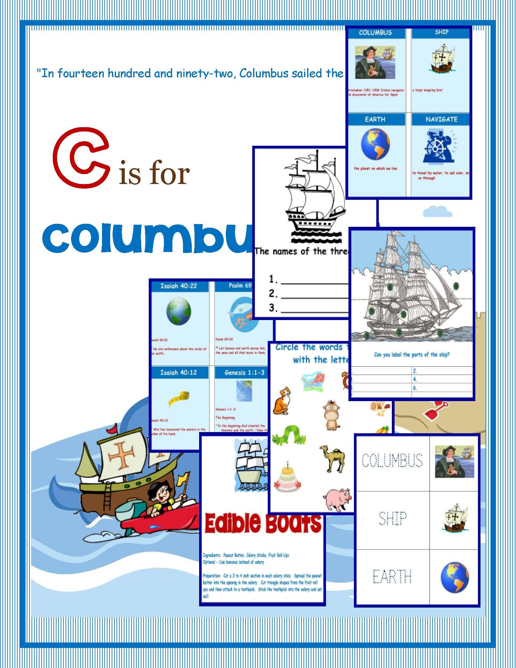 Columbus Day Printable Packet  Homeschooled Kids Online