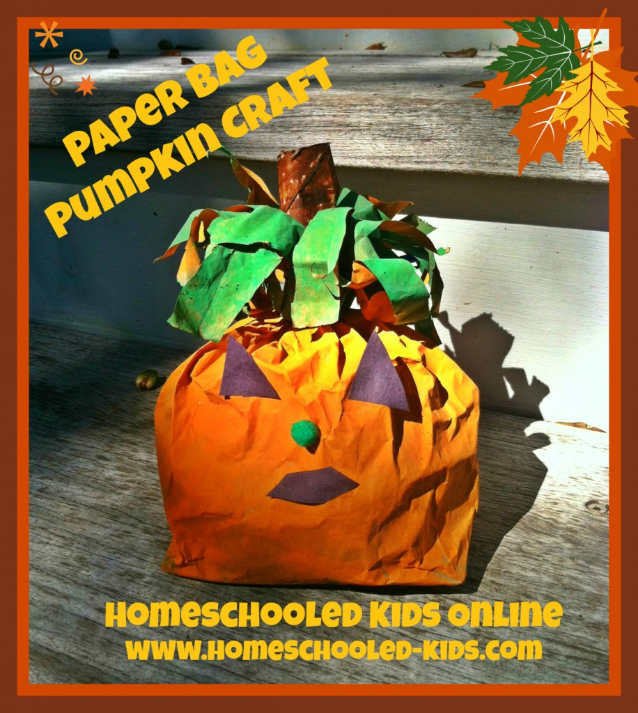 paper bag pumpkin craft for kids