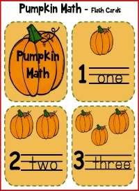 Pumpkin Math Flash Cards