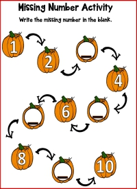 Pumpkin Math Missing Numbers