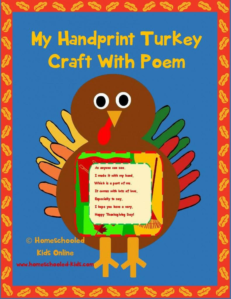 Handprint Turkey Craft With Poem