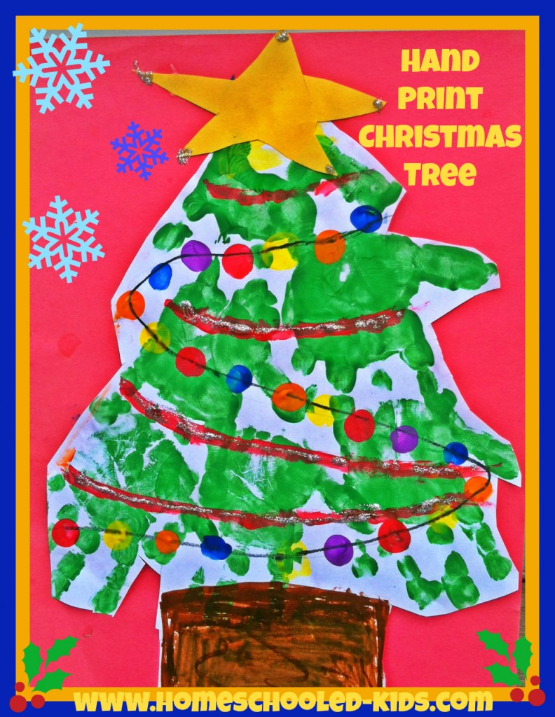 handprint christmas tree craft for kids